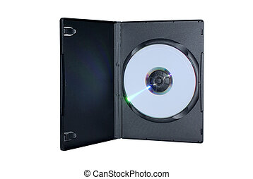Black box with writable DVD disc inside isolated on white...