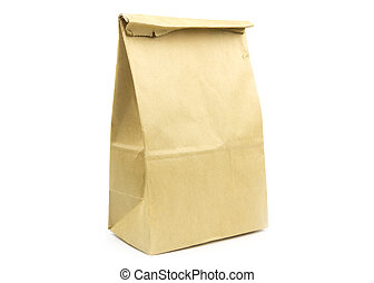 recycle brown paper bag on white background