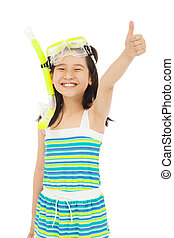 happy  little girl wearing swimsuit with thumb up