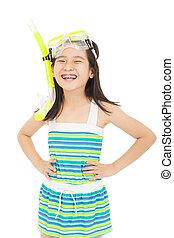 happy asian little girl wearing swimsuit