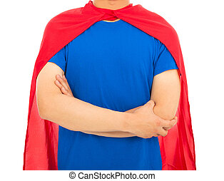 man with super hero shirt