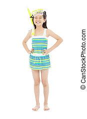happy little girl wearing swimsuit