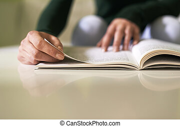 niña, estudiar, literatura, libro, hogar