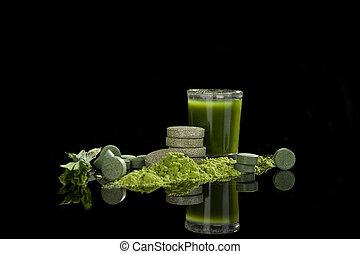 Detox - Spirulina, chlorella, wheatgrass and barleygrass...