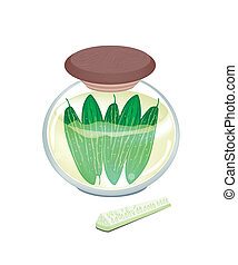 Pikled Marrow in A Jar on White Background - Vegetable, An...