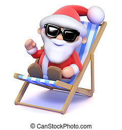 3d Santa sunbathes - 3d render of Father Christmas relaxing...