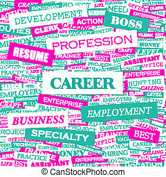 CAREER Word cloud illustration Tag cloud concept collage