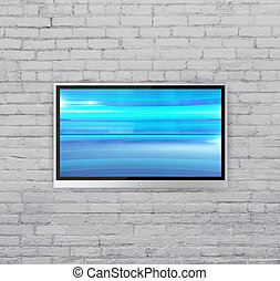 wide screen TV on brick wall with Abstract blue cubes