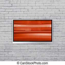 wide screen TV on wall with Abstract red cubes