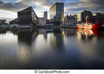 Liverpool Albert Dock - Scene at dusk at the major UNESCO...