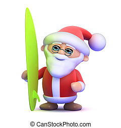 3d Santa surfs - 3d render of Father Christmas with his...