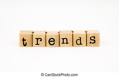 trends wording isolate on white background - closeup trends...