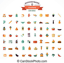Cooking and Backing flat icons, Kitchenware elements -...