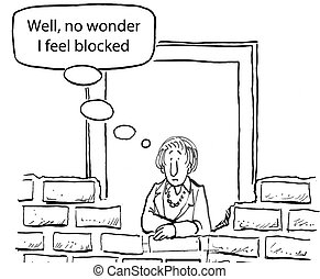 Employee is worried by brick wall - Employee at wall thinks,...