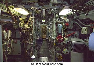 ajuste, control, paneles, viejo, Submarino