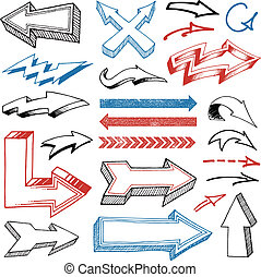 Grunged Hand Drawn Arrows set - Collection of Various Pencil...