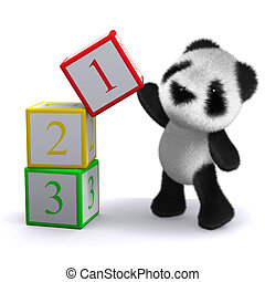 3d Panda counts to three - 3d render of a panda playing with...