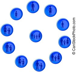Blue buttons with man, woman, child and family figures