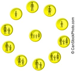 Yellow buttons with man, woman, child and family figures