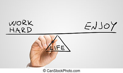 Balancing Work and Enjoyment in life - Conceptual image of...