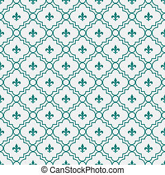 White and Dark Teal Fleur-De-Lis Pattern Textured Fabric...
