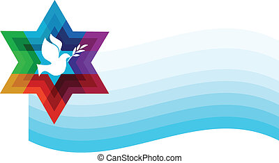 peace pigeon on background of blue waves illustration