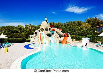 Aqua park with water slides in luxury hotel, Antalya, Turkey