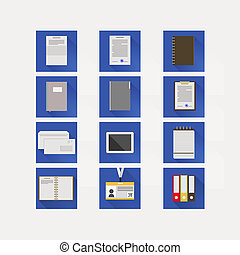 Flat icons for business - Set of square blue icons for...
