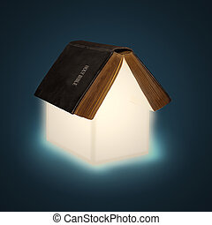 Open Bible House - An open Bible with glowing pages creating...