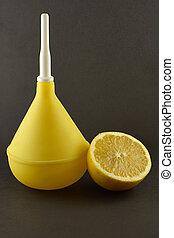 medico, clistere, limone, scuro