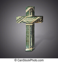 Money cross - Dollar bills into the shape of a Christian...