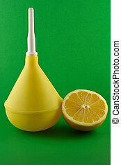medico, clistere, limone, verde
