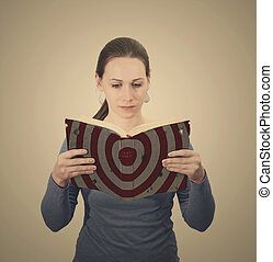 Woman with Bible with target