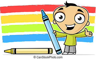 Rainbow Colors - Little boy with crayons drawing rainbow...