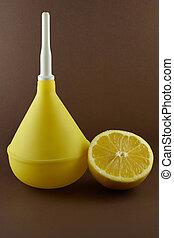 medico, clistere, limone, marrone