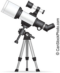 Telescope illustration isolated on white.