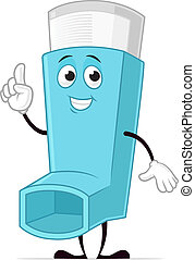 Inhaler - Blue asthma inhaler vector cartoon character...