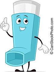 Inhaler - Blue asthma inhaler vector cartoon character...