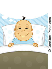 Sweet Dreams - Little baby boy sleeping and dreaming vector...