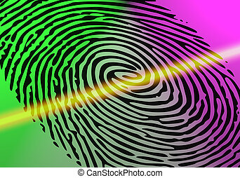 Fingerprint Scanning - Fingerprint of a thumb being scanned...