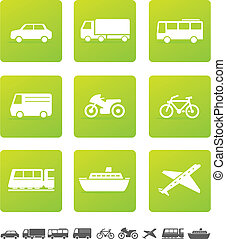 Transportation Icons - Vehicles icons on green background...