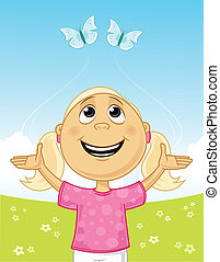 Spring Joy - Little girl playing with butterflies vector...