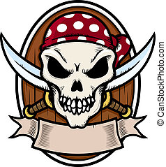 Pirate Skull - Emblem with pirate skull vector illustration