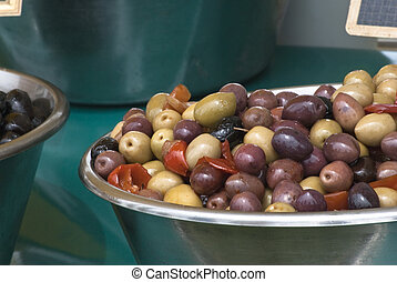 Bowls of Mixed Olives and Black Olives - Two bowls of olives...
