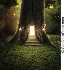 Enchanted forest - A tree in the forest with a door glowing...
