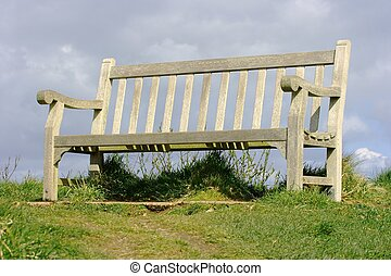 Bench - Empty bench outdoors, its about to rain