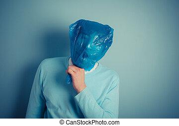cabeza, el suyo, suffocating, encima, plástico, bolsa,...