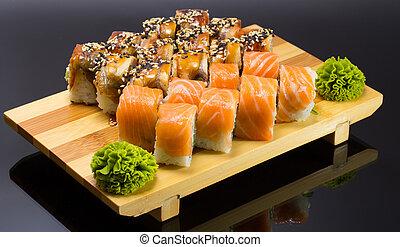 encima,  Sushi,  mde, negro, Plano de fondo, plato