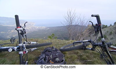 Bicycles on the mountain top Ai-Petri, Yalta, Crimea...
