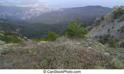 View of the coast and Yalta from the top of Mount Ai-Petri,...